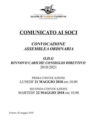 COMUNICATO AI SOCI: CONVOCAZIONE ASSEMBLEA ORDINARIA
