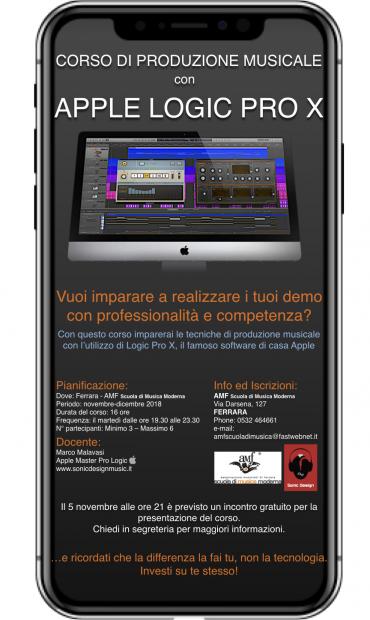 CORSO DI PRODUZIONE MUSICALE con APPLE LOGIC PRO X
